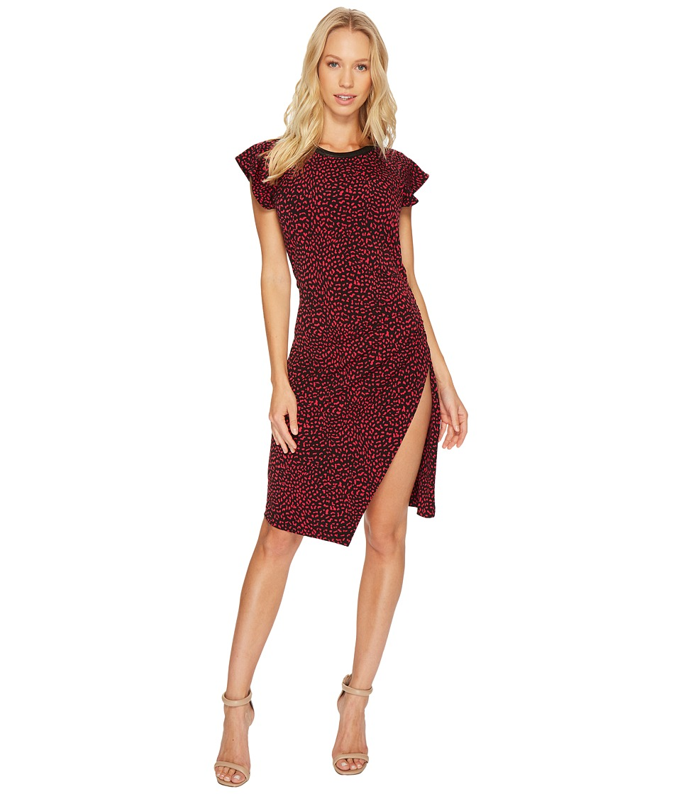 MICHAEL Michael Kors Cheetah Ruffle Sleeve Dress (Raspberry) Women