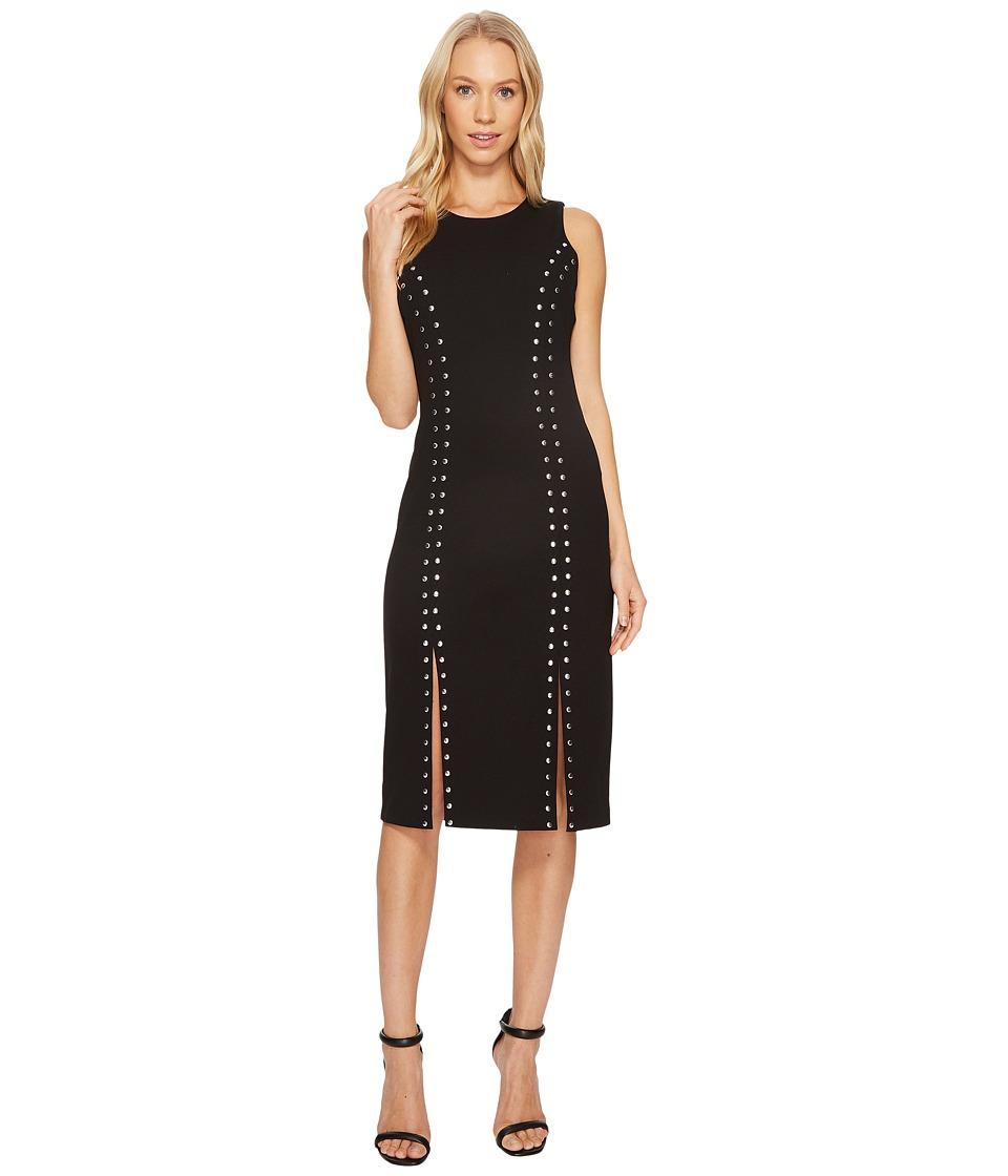MICHAEL Michael Kors Sleeveless Dome Stud Slit Dress (Black) Women