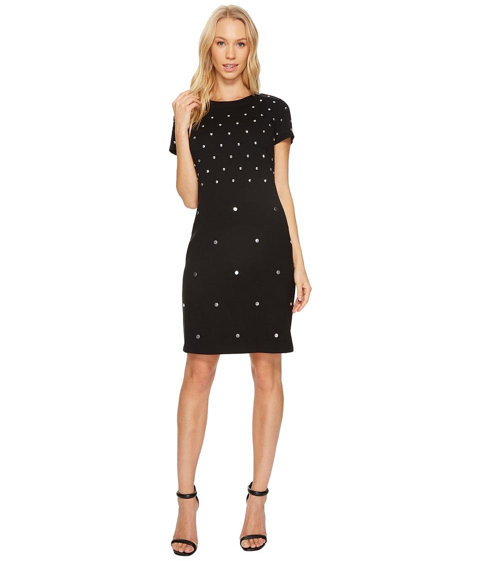 MICHAEL Michael Kors Short Sleeve Stud Crew Neck Dress (Black) Women