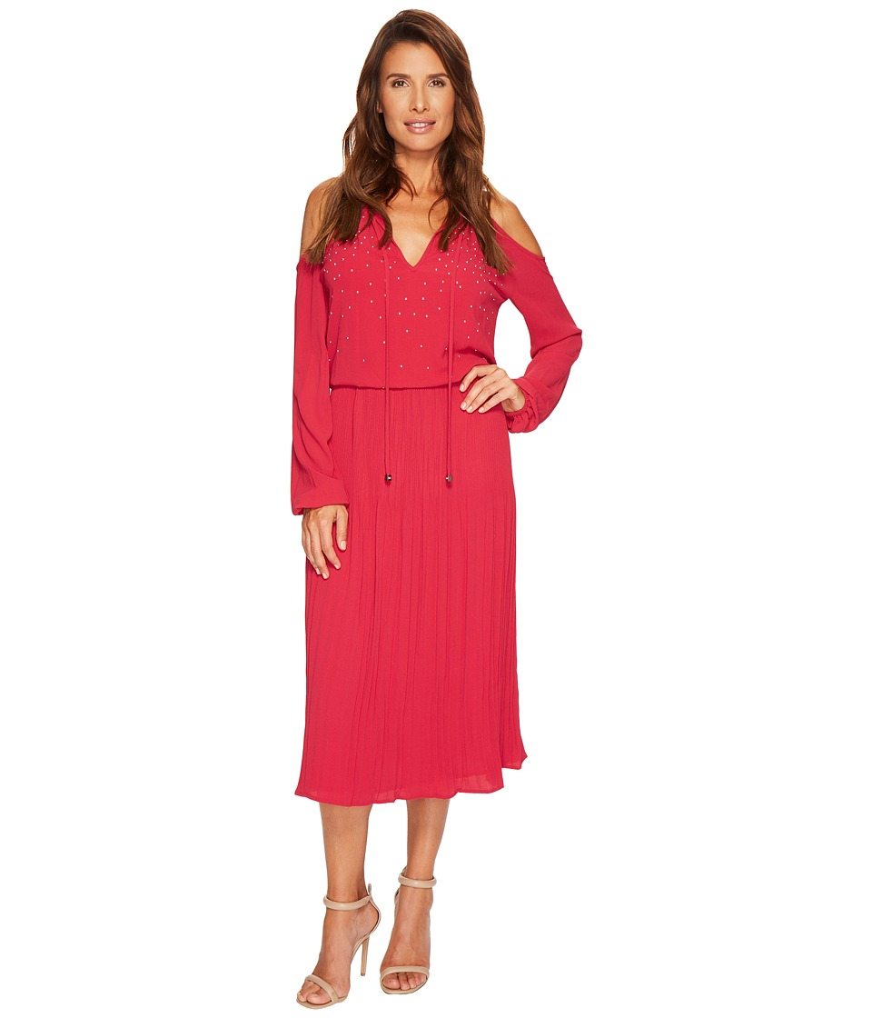 MICHAEL Michael Kors Embellished Cold Shoulder Dress (Raspberry) Women