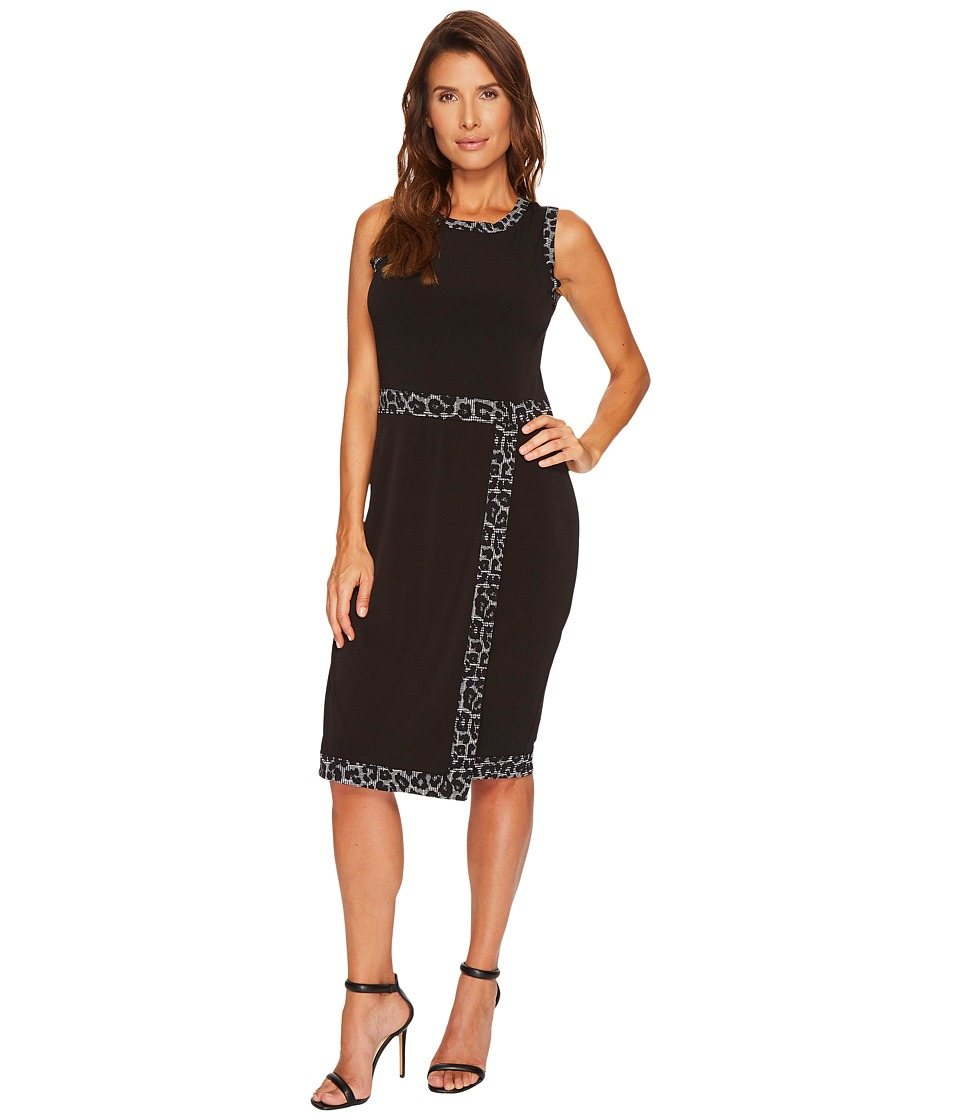 MICHAEL Michael Kors Faux Wrap Border Tank Dress (Black) Women