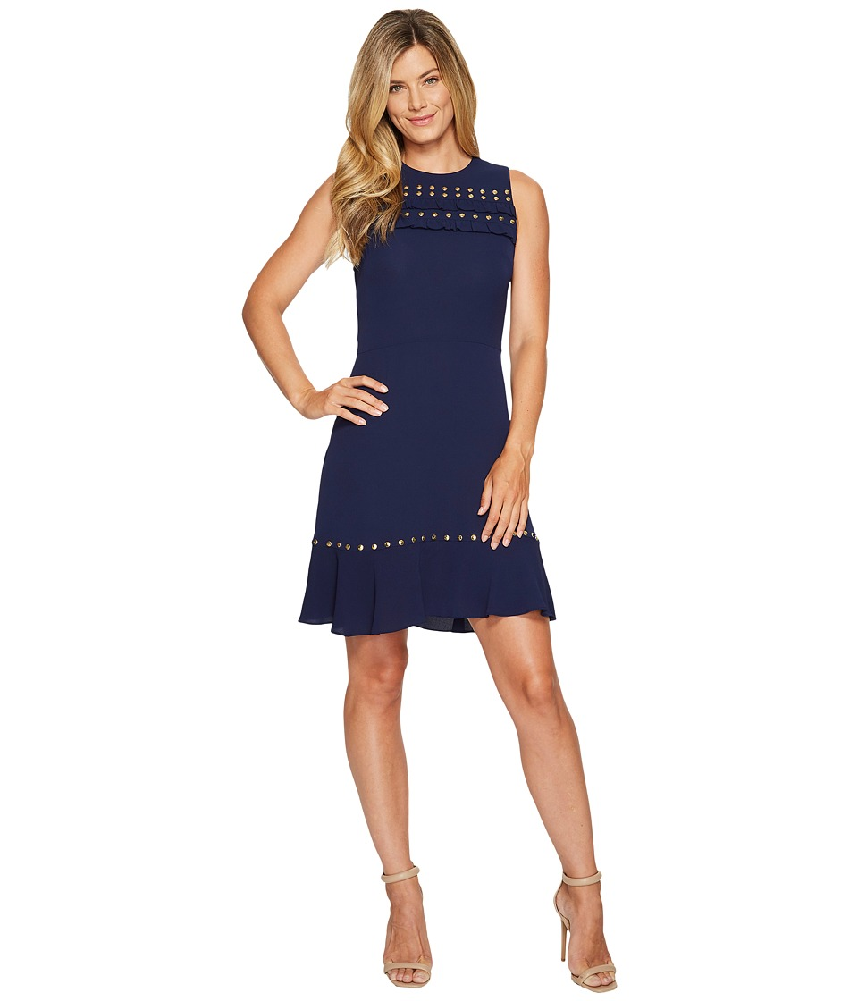 MICHAEL Michael Kors Ruffle Flounce Dress (True Navy) Women