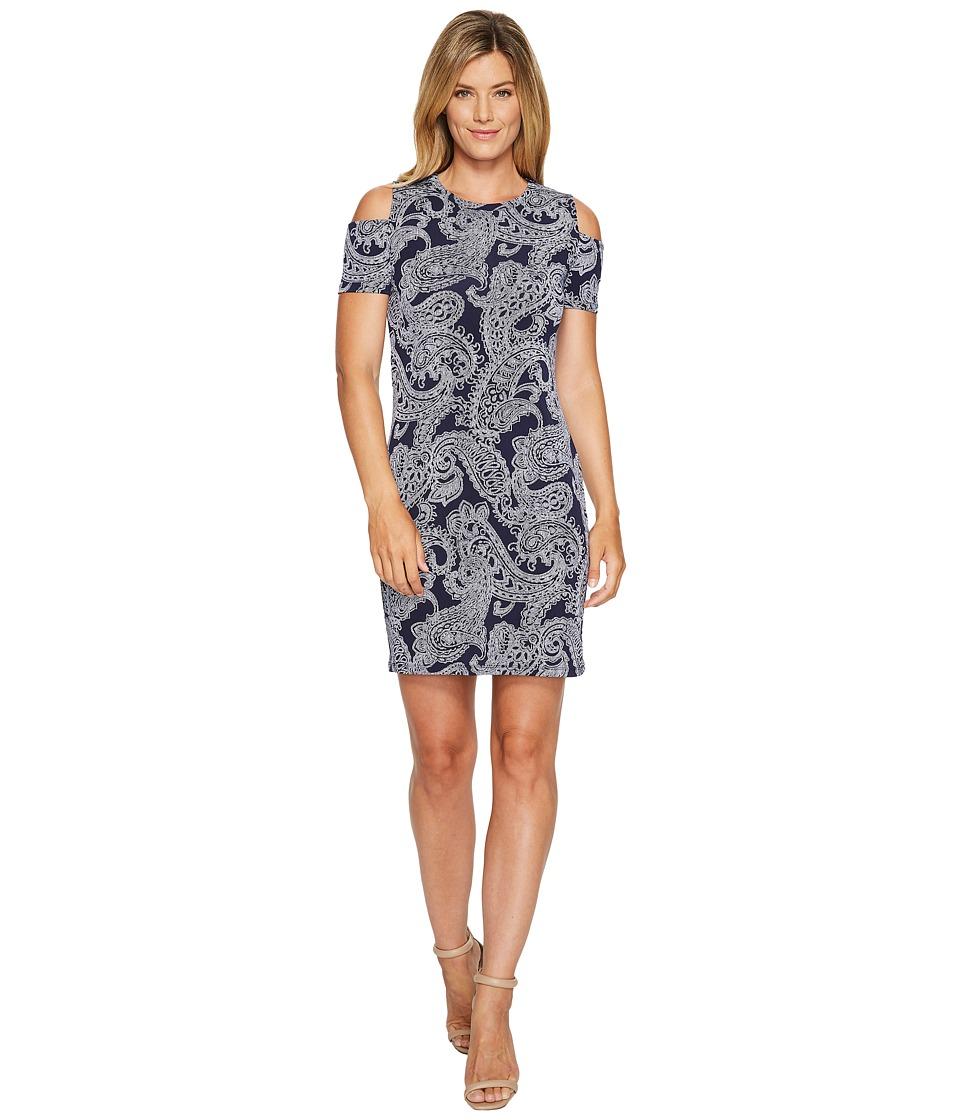 MICHAEL Michael Kors Samara Cold Shoulder Dress (True Navy) Women