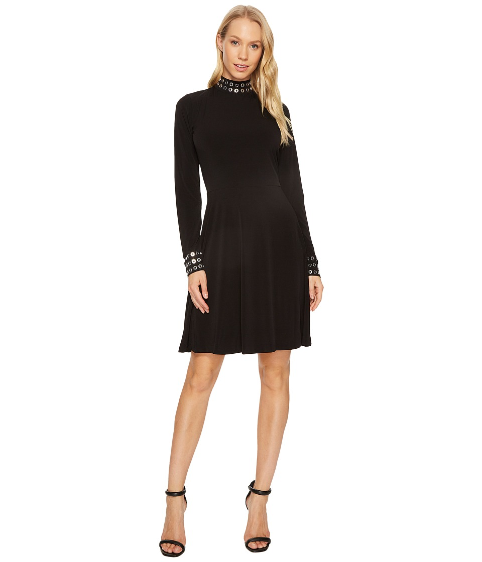 MICHAEL Michael Kors Grommet Mock Neck Long Sleeve Dress (Black) Women