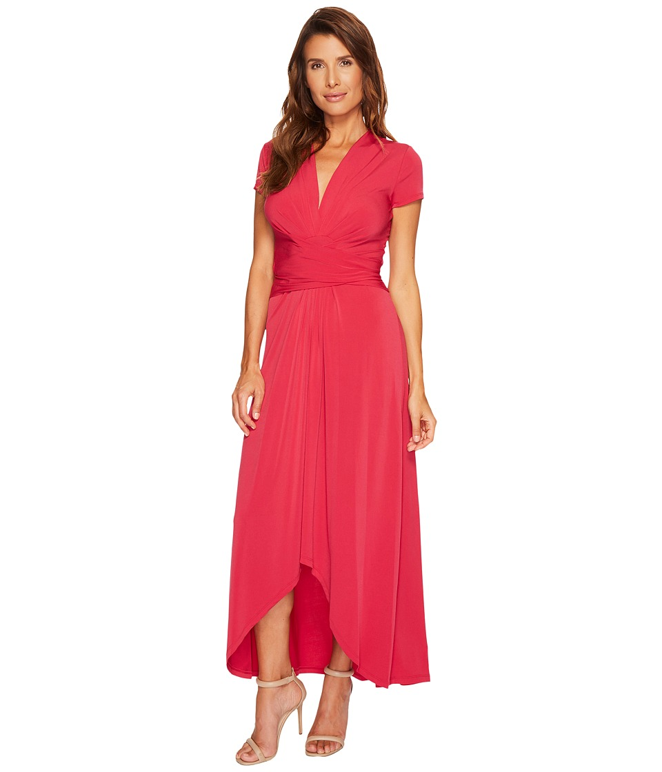 MICHAEL Michael Kors Cap Sleeve Maxi Wrap Dress (Raspberry) Women