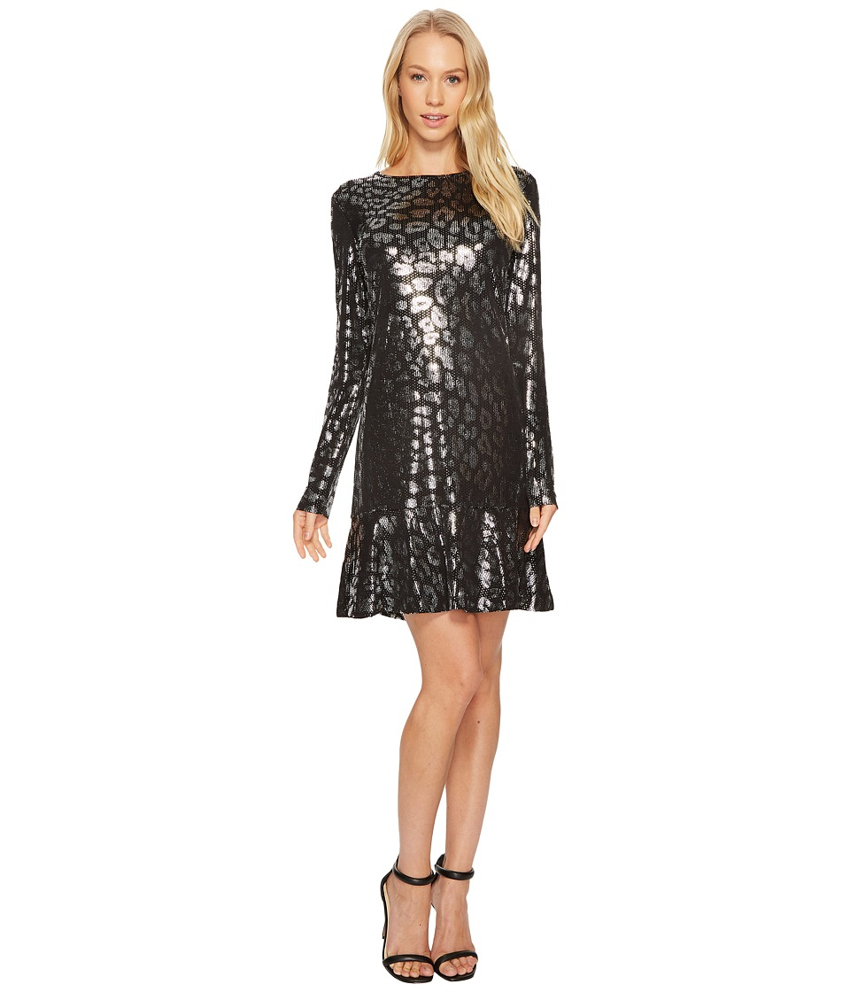 MICHAEL Michael Kors Leo Foil Flounce Dress (Black) Women