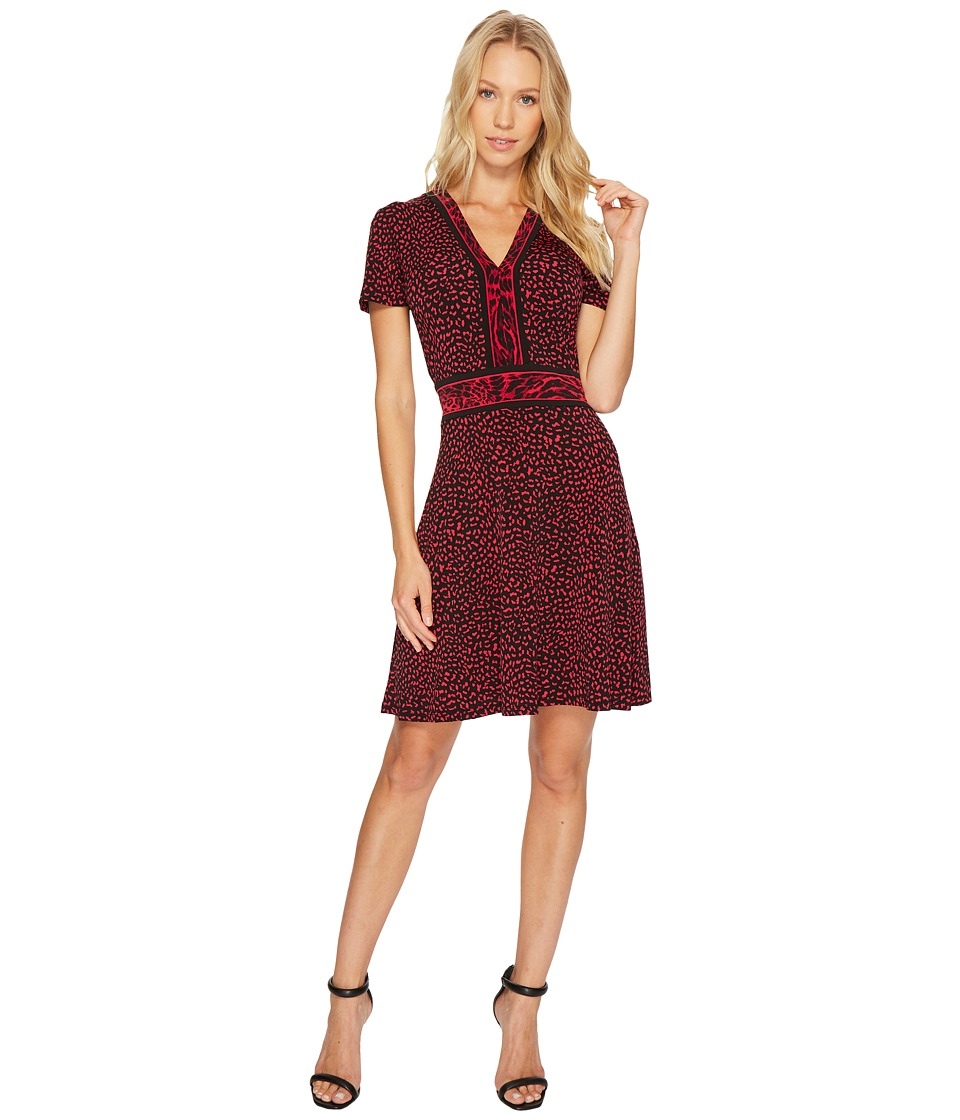MICHAEL Michael Kors Cheetah Cat Border Dress (Raspberry) Women