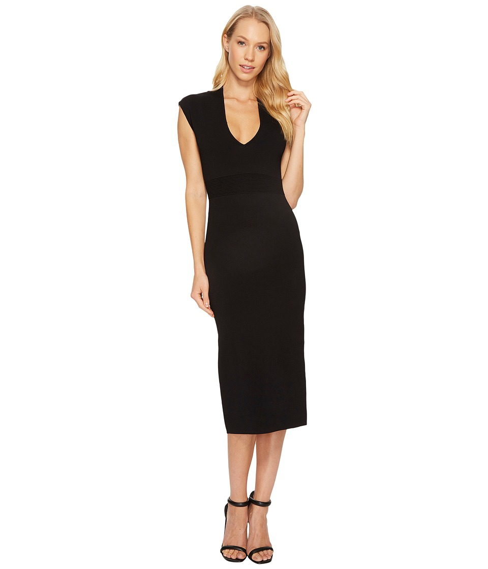 MICHAEL Michael Kors Midi V-Neck Dress (Black) Women
