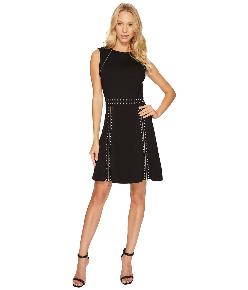 MICHAEL Michael Kors Pyramid Stud Zip Sleeveless Dress (Black) Women