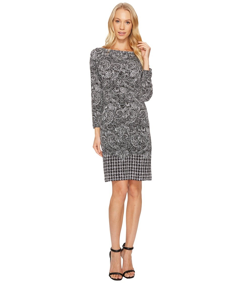 MICHAEL Michael Kors Paisley Houndstooth Border Dress (Black) Women