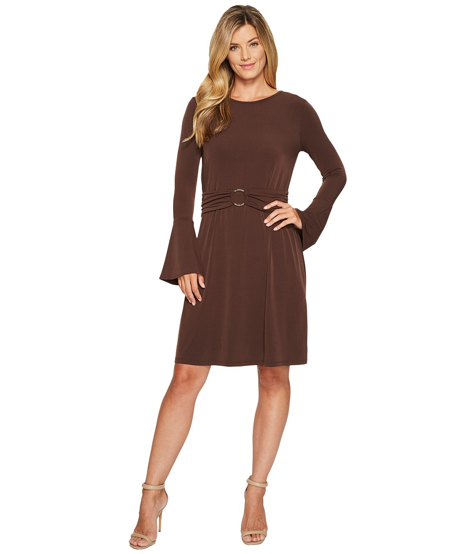 MICHAEL Michael Kors Flare Sleeve Ring Dress (Chocolate) Women