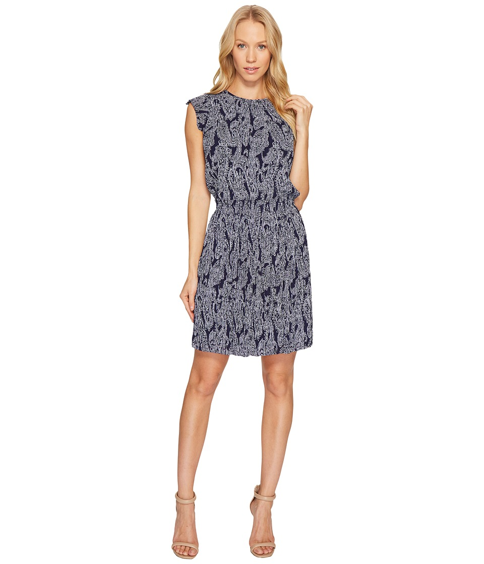 MICHAEL Michael Kors Samara Paisley Pleat Dress (True Navy) Women