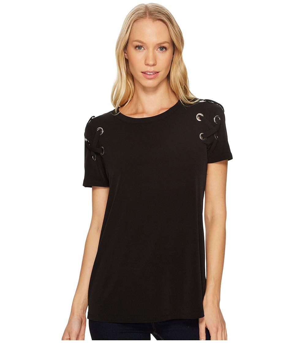 MICHAEL Michael Kors Short Sleeve Armhole Lacing Tee (Black) Women