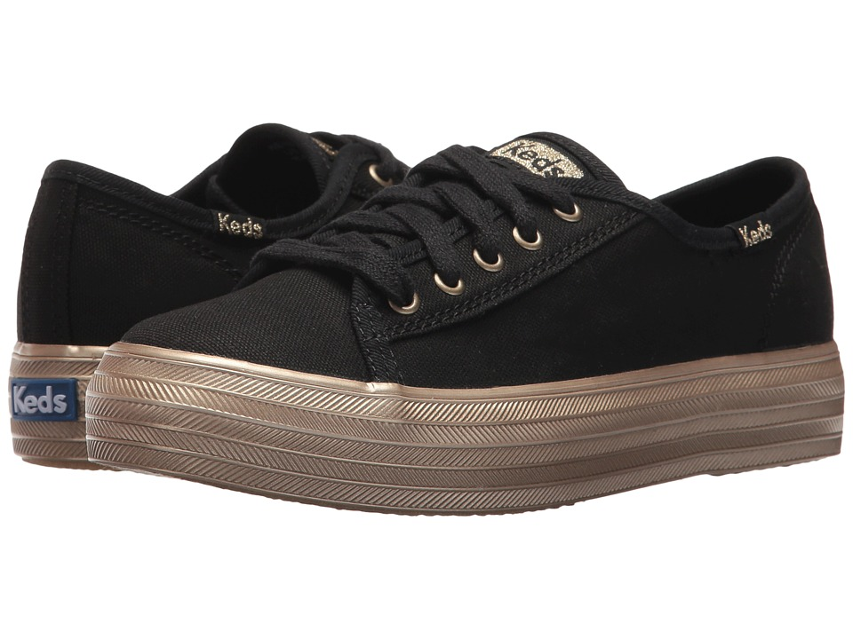 Keds Kids KE-Triple Kick (Little Kid/Big Kid) (Black/Gold) Girl's Shoes