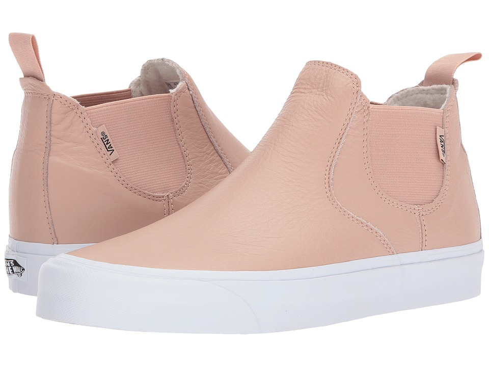 Vans Classic Slip-On Mid DX ((Leather) Mahogany Rose/True White) Skate Shoes