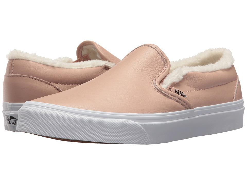 Vans Classic Slip-Ontm ((Leather) Mahogany Rose/True White) Skate Shoes
