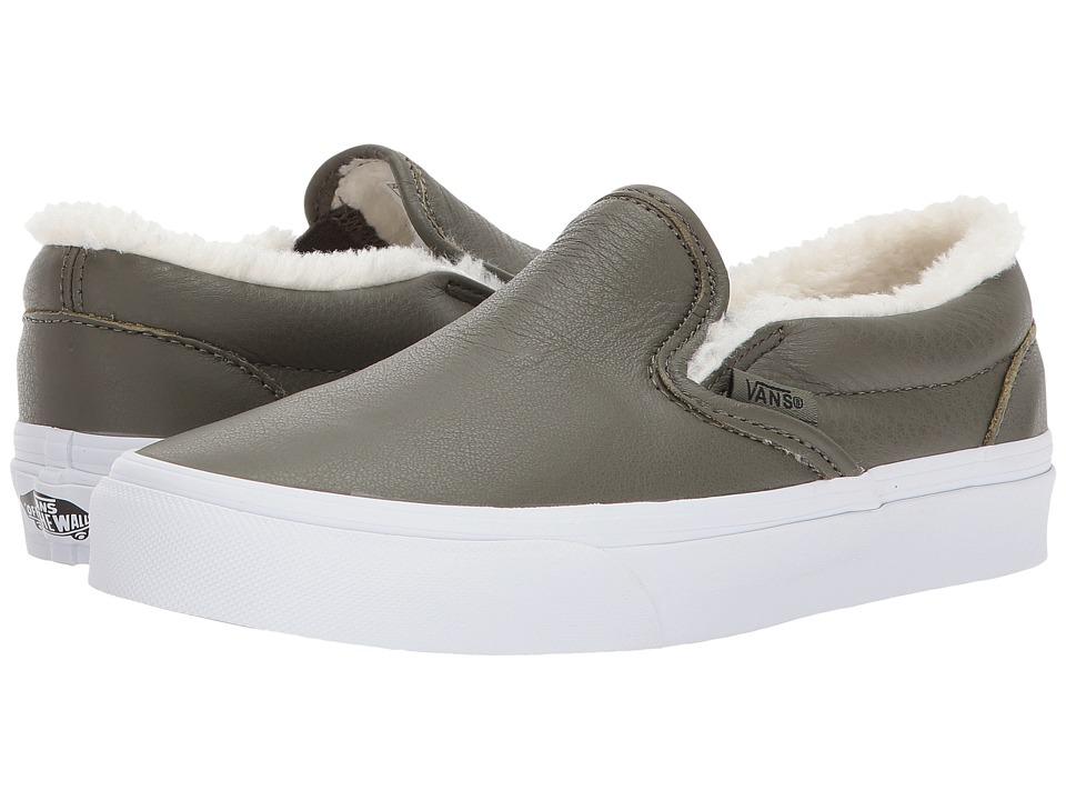 Vans Classic Slip-Ontm ((Leather) Grape Leaf/True White) Skate Shoes