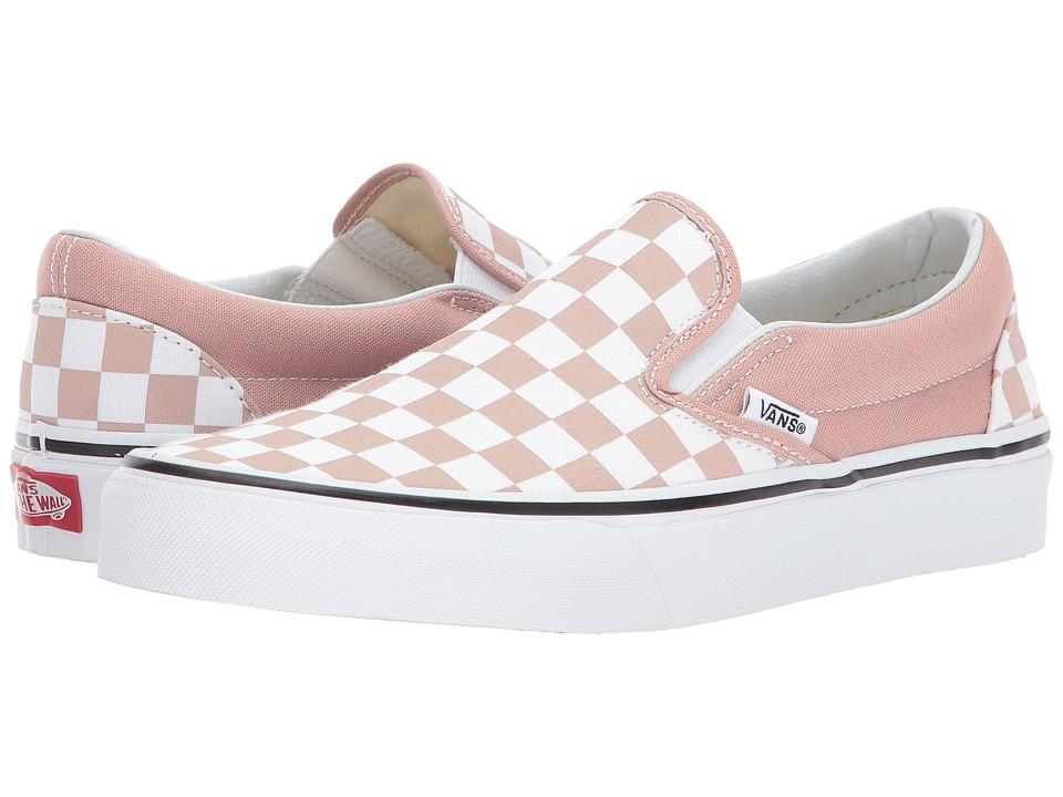 Vans Classic Slip-Ontm ((Checkerboard) Mahogany Rose/True White) Skate Shoes