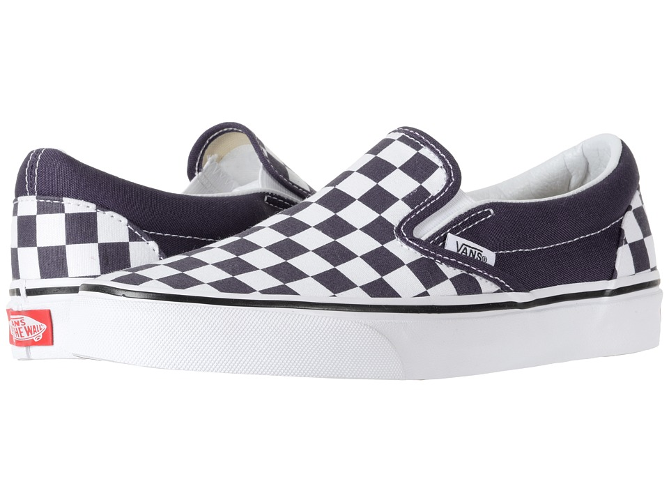 Vans Classic Slip-Ontm ((Checkerboard) Nightshade/True White) Skate Shoes
