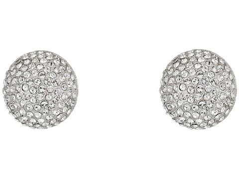 Nina Pave Button Clip Earrings - Rhodium/White