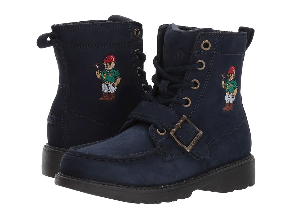 Polo Ralph Lauren Kids - Ranger Hi II (Little Kid) (Navy Nubuck/Polo Sweater Bear) Boys Shoes