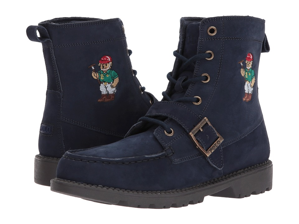 Polo Ralph Lauren Kids - Ranger Hi II (Big Kid) (Navy Nubuck/Polo Sweater Bear) Boys Shoes