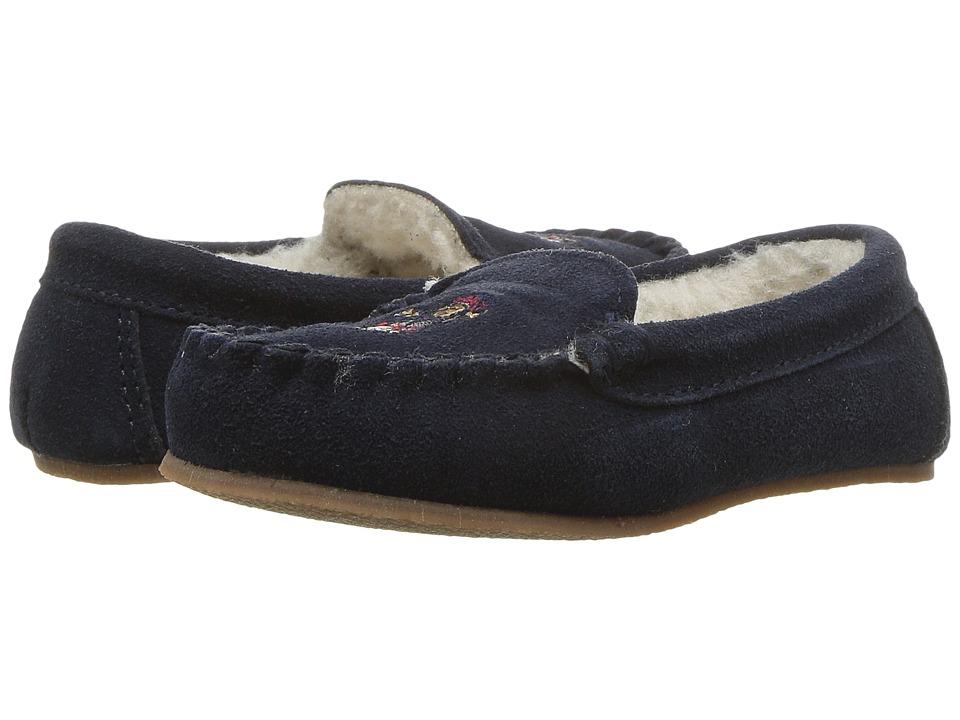 Polo Ralph Lauren Kids - Desmond Moc (Toddler/Little Kid) (Navy Suede/Skier Bear) Kids Shoes