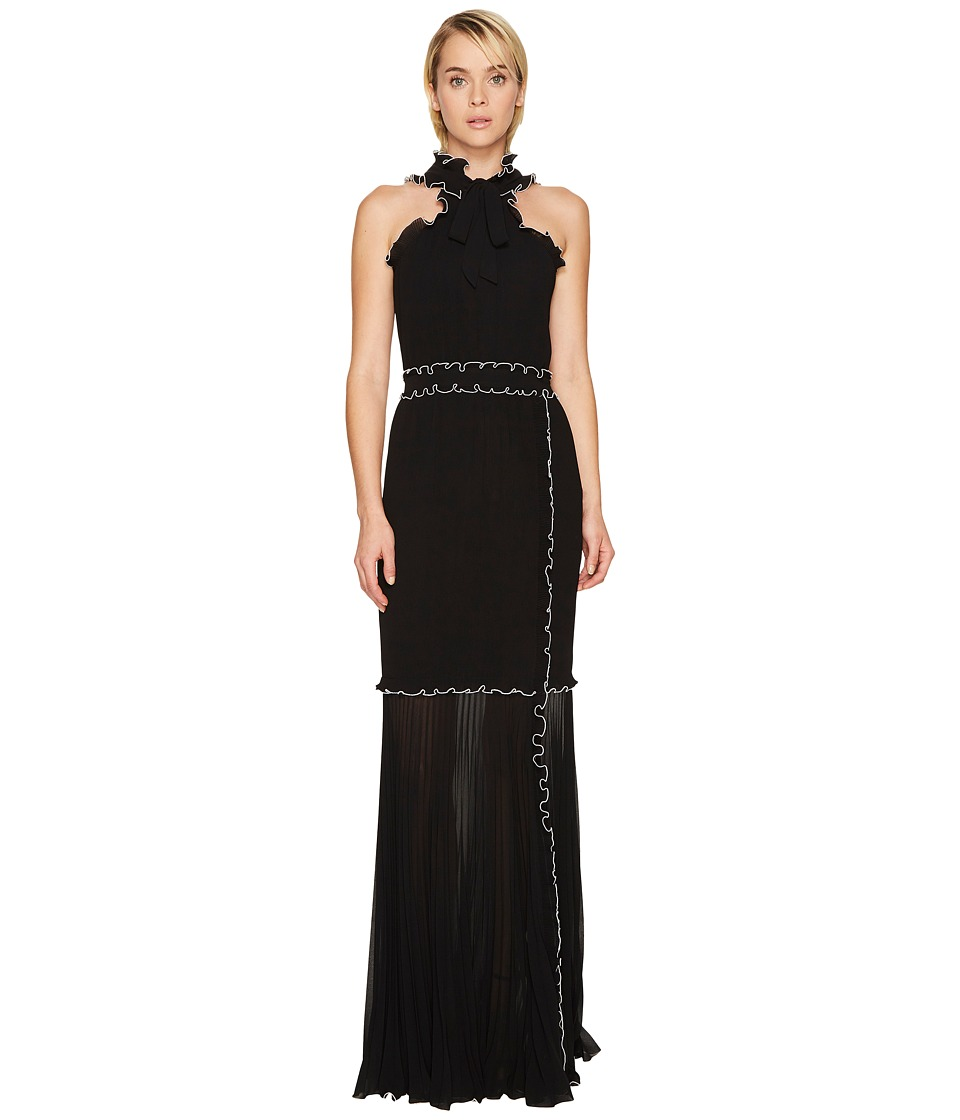 Boutique Moschino Georgette Long Dress (Black/White) Women