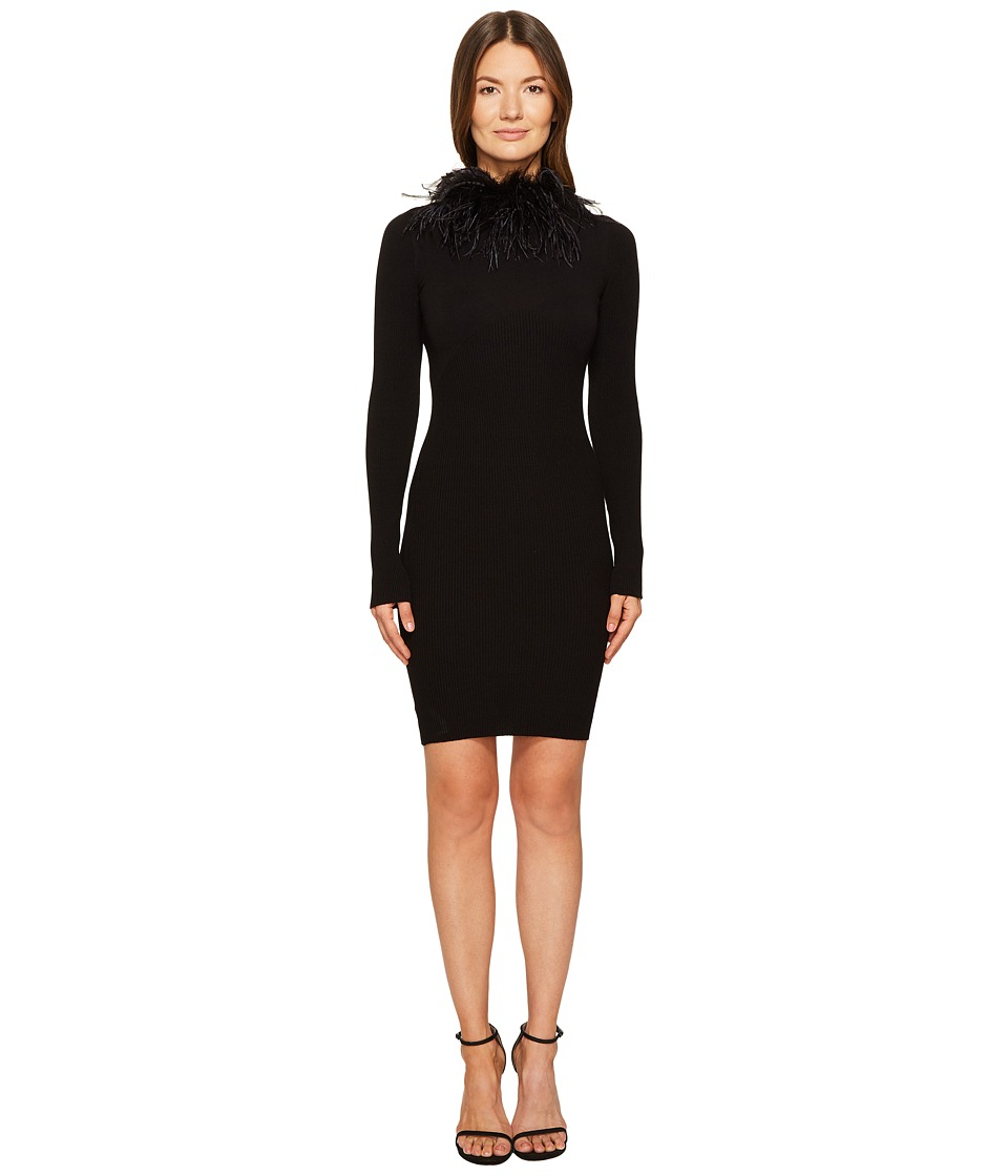 Boutique Moschino - Maribou Neck Dress (Black) Womens Dress