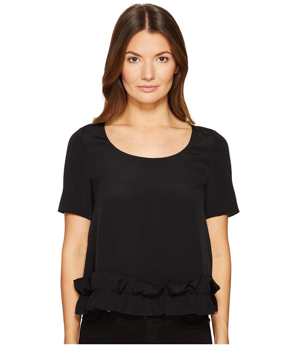 Boutique Moschino - Crepe De Chine Short Sleeve Ruffle Blouse (Black) Womens Clothing