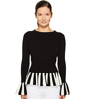 Boutique Moschino - Striped Trim Peplum Knit