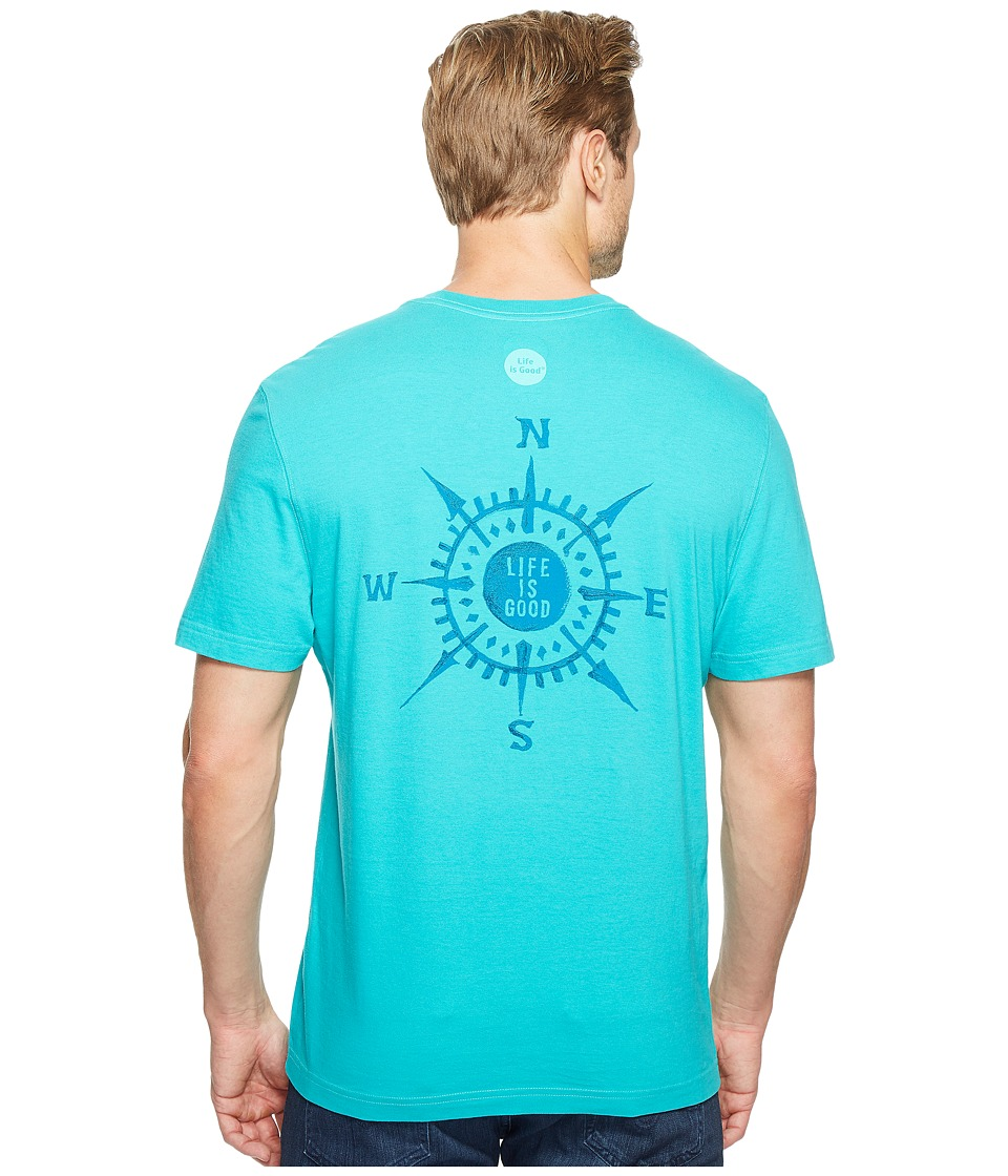 Life is Good Compass Crusher Tee (Bright Teal) Men