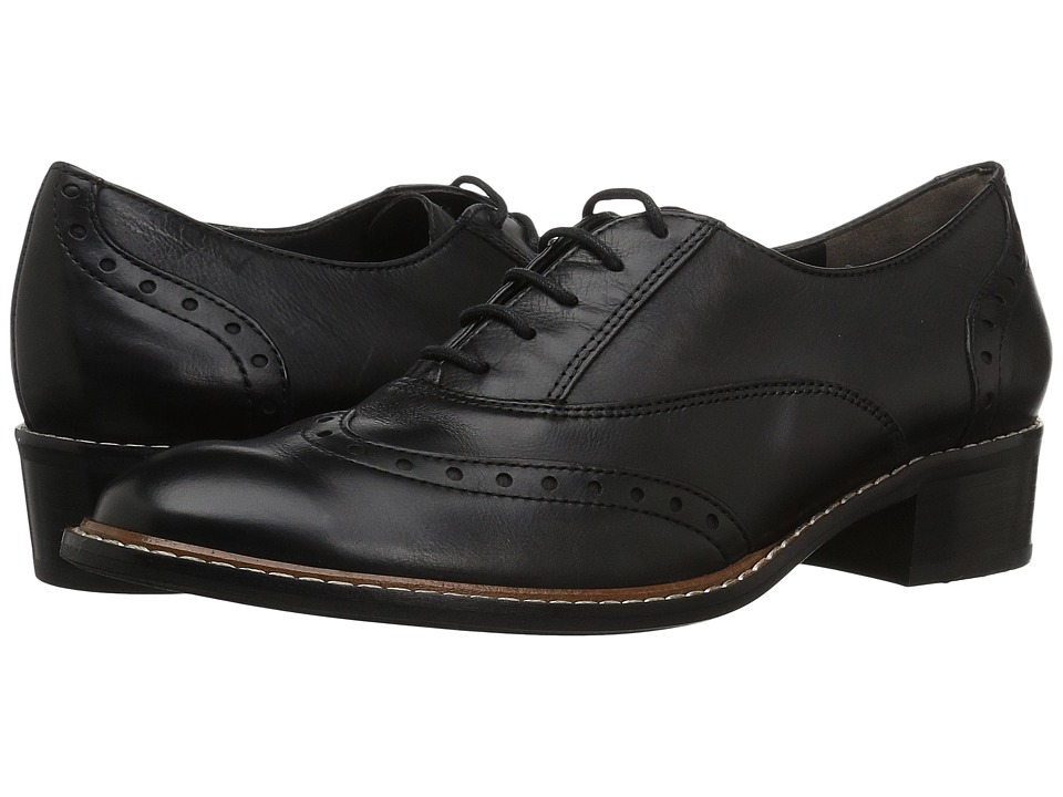 1930s Style Shoes – Art Deco Shoes Paul Green - Oakes Oxford Black Leather Womens Lace Up Wing Tip Shoes $157.50 AT vintagedancer.com