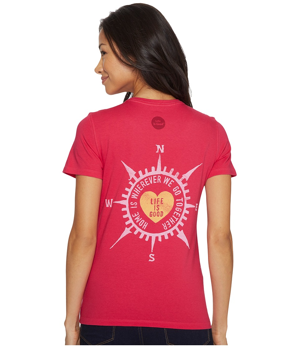 Life is Good Compass Heart Crusher Tee (Pop Pink) Women