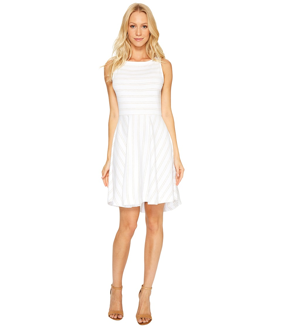 Three Dots Santorini Stripe Fit Flare Dress (Oatmeal/White) Women