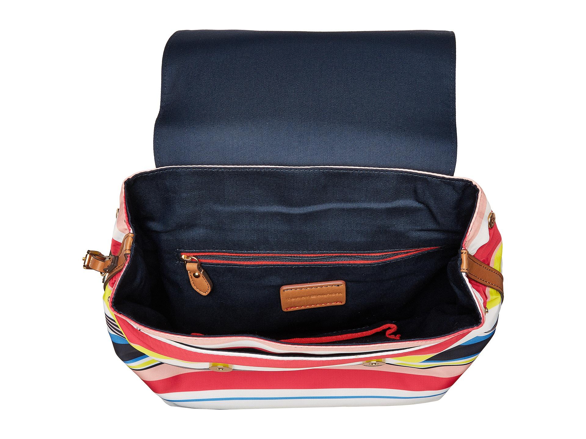 tommy hilfiger julia stripe flap backpack at. Black Bedroom Furniture Sets. Home Design Ideas