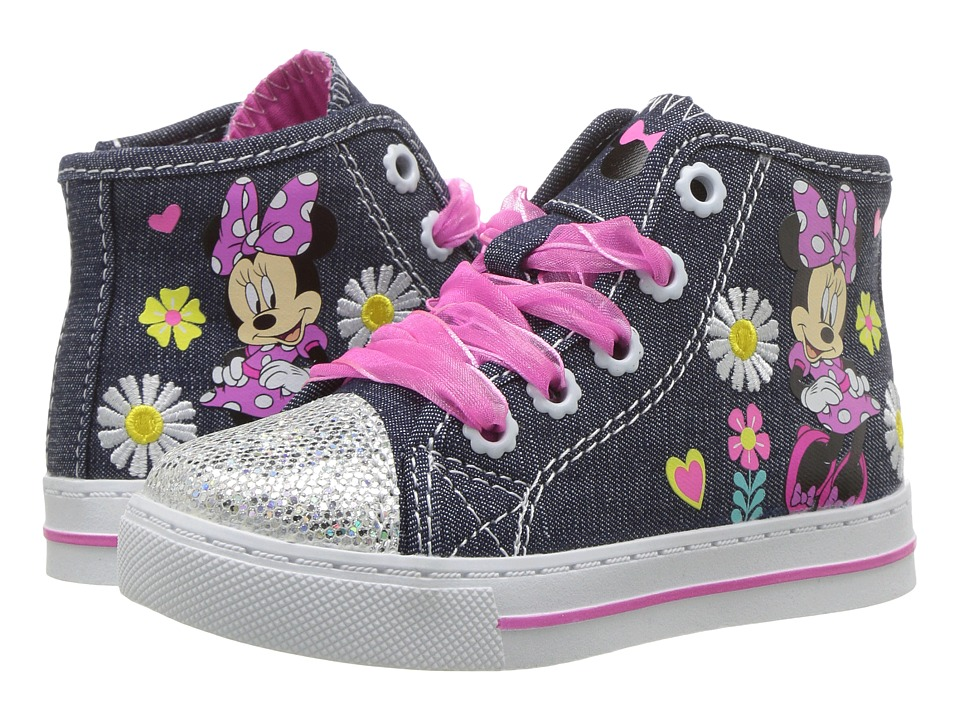 Josmo Kids Minnie Sparkle Toe Hi Top (Toddler/Little Kid) (Denim/Pink) Girl's Shoes