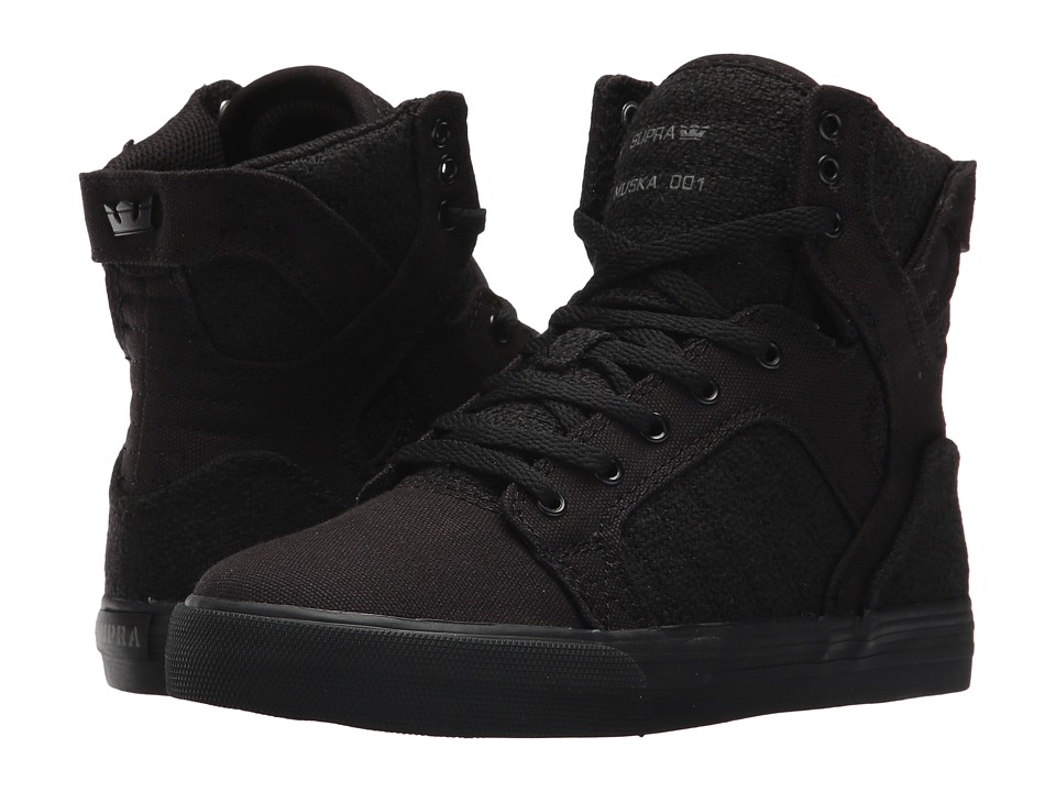 Supra Kids Skytop (Little Kid/Big Kid) (Black/Black/Black) Boys Shoes