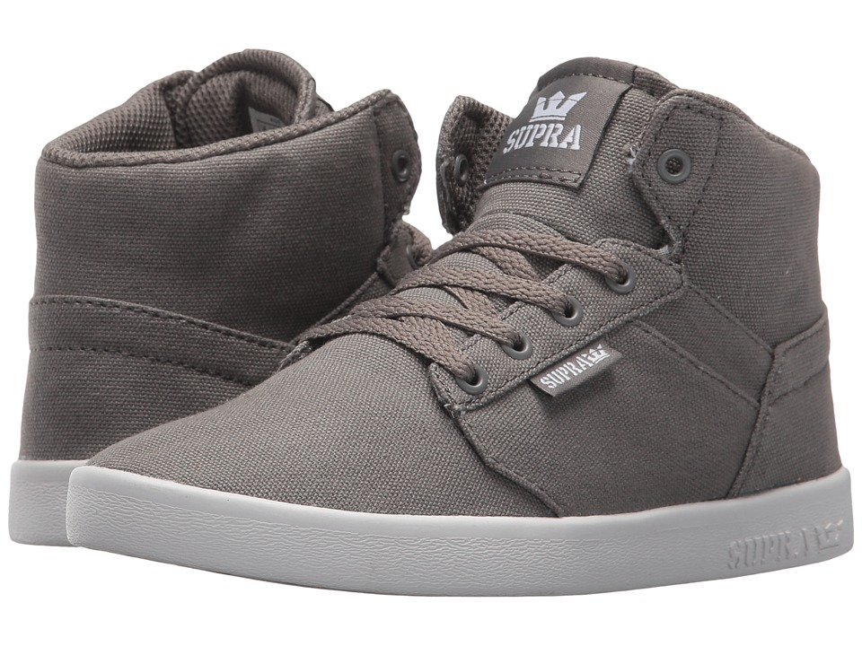 Supra Kids Yorek High (Little Kid/Big Kid) (Brushed Nickel/White) Boys Shoes