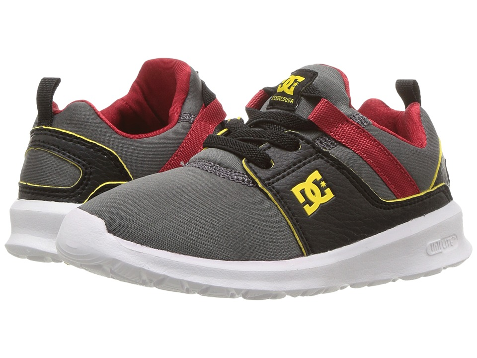 DC Kids Heathrow SE (Little Kid/Big Kid) (Grey/Black/Red) Boys Shoes