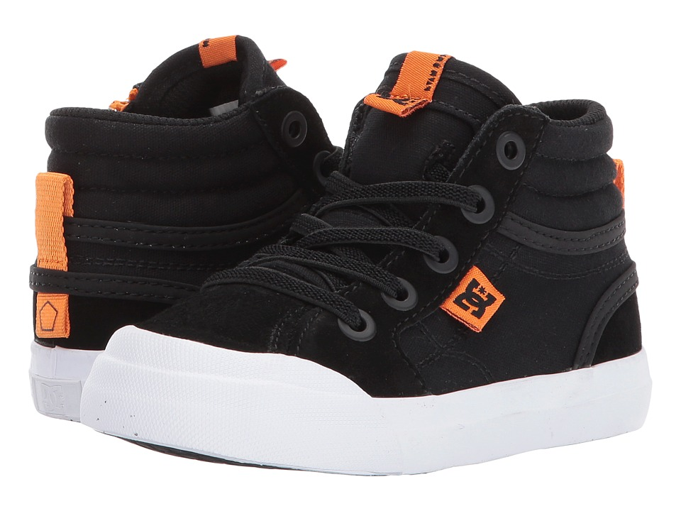DC Kids Evan Hi (Toddler) (Black/Orange) Boys Shoes
