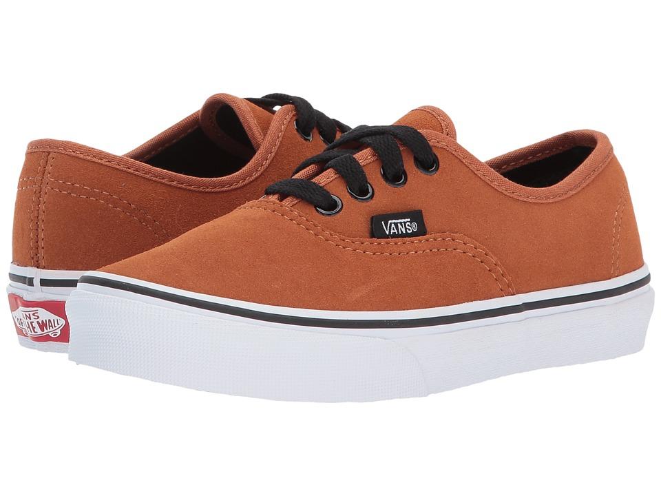 Vans Kids Authentic (Little Kid/Big Kid) ((Suede) Glazed Ginger/Black) Boy's Shoes