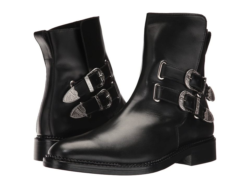 Toga Virilis - Leather Western Buckle Boot (Black) Mens Dress Pull-on Boots