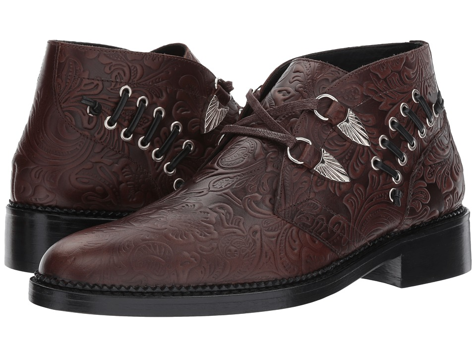 Toga Virilis - Embossed Leather Western Buckle Boot (Brow...