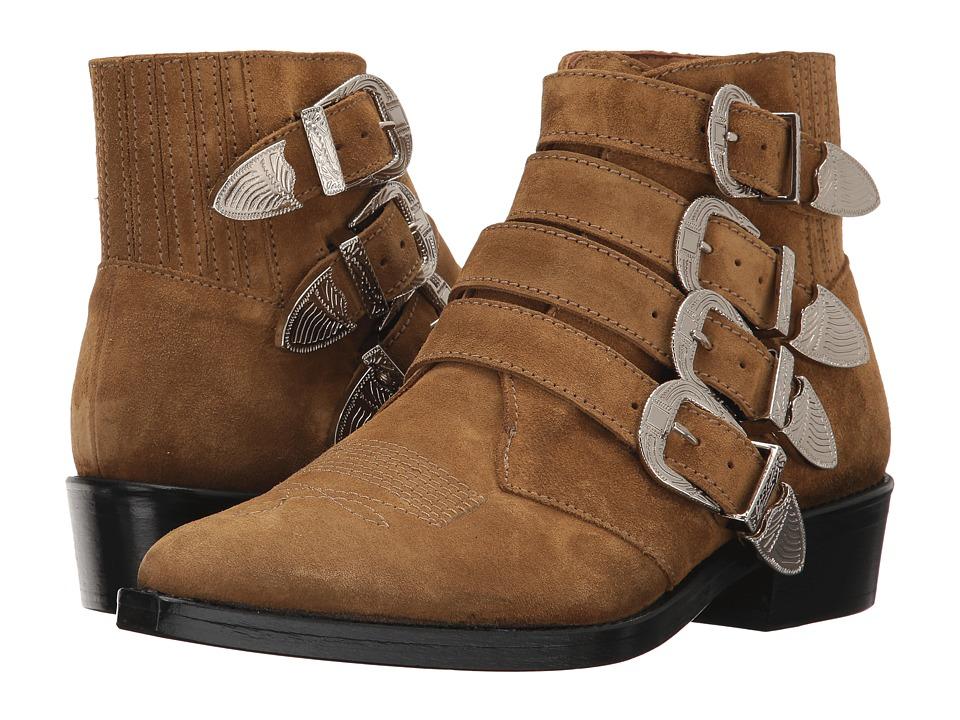 Toga Virilis - Suede Western Buckle Boot (Beige) Men's Dr...