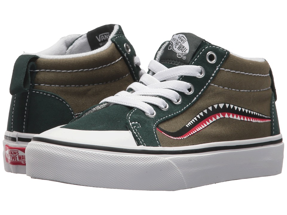 Vans Kids Racer Mid (Little Kid/Big Kid) ((Bomber Face) Winter Moss/Green Gables) Boy's Shoes