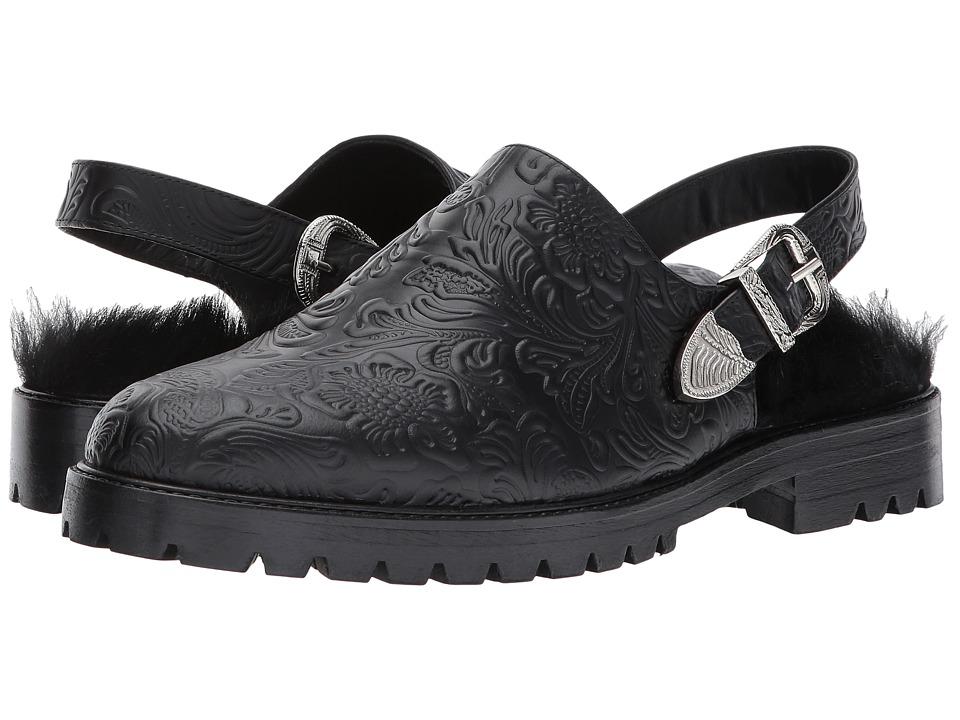 Toga Virilis - Embossed Leather Open-Back Loafer