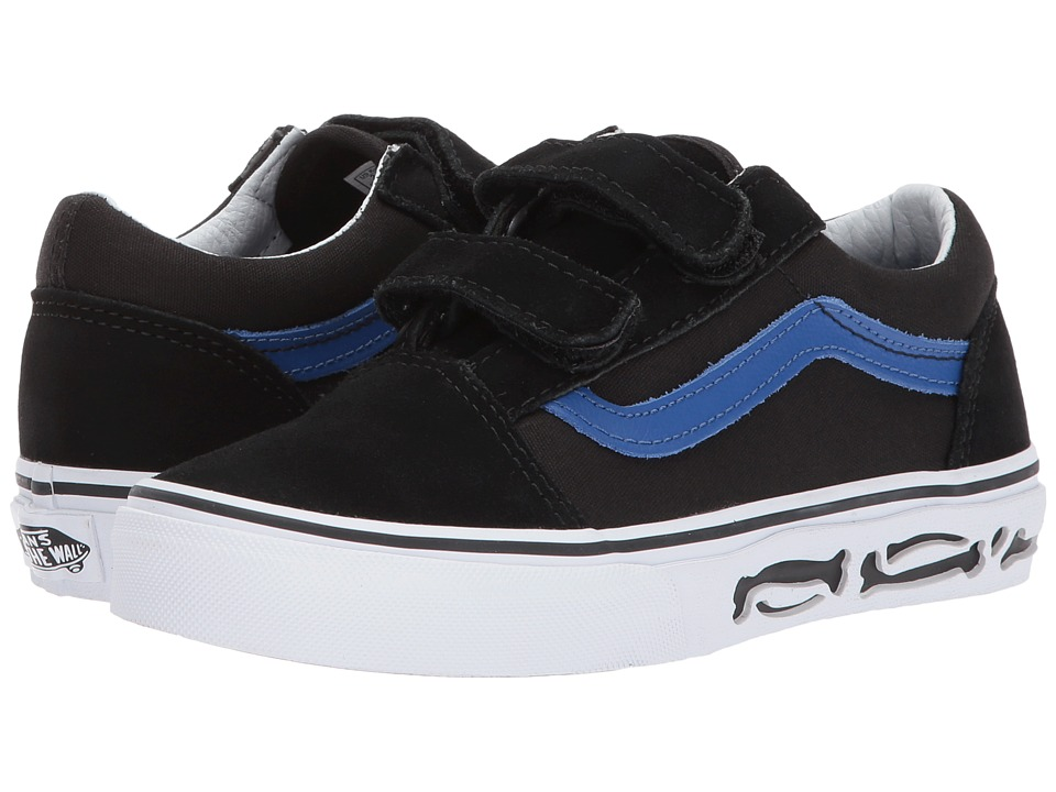 Vans Kids Old Skool V (Little Kid/Big Kid) ((Sidewall Perf) Bones/Black) Boy's Shoes