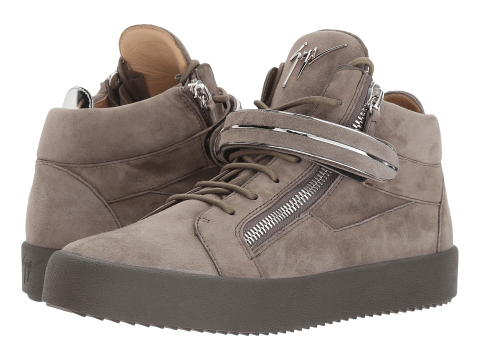 Giuseppe Zanotti - May London Mid Top Sneaker (Grey) Mens Lace up casual Shoes