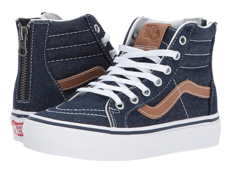 Vans Kids Sk8-Hi Zip (Little Kid) ((Denim C&L) Dress Blues/Chipmunk) Boy's Shoes